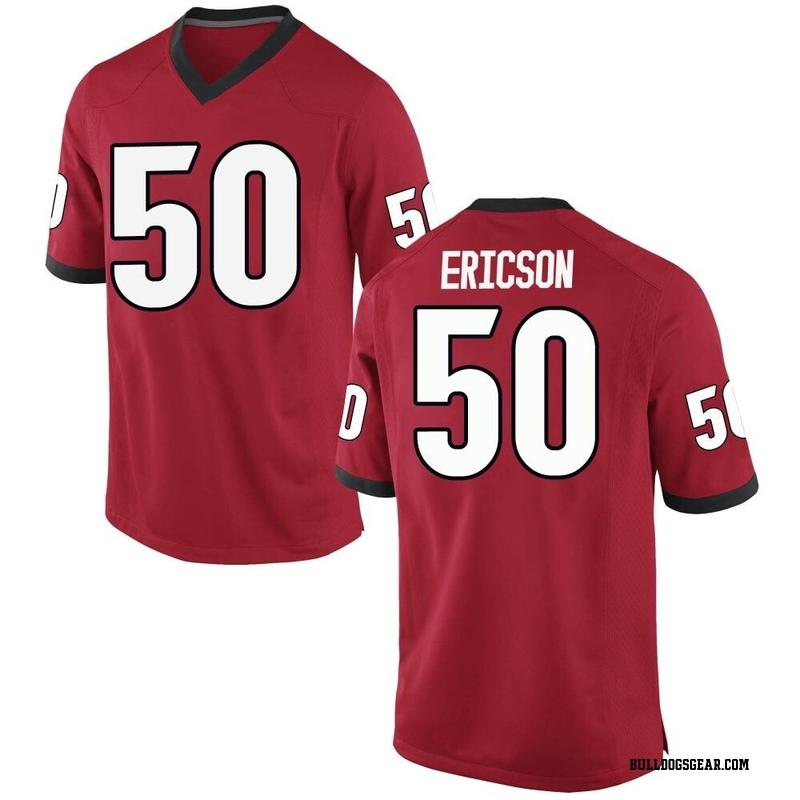 Game Men's Warren Ericson Georgia Bulldogs Red Football College Jersey