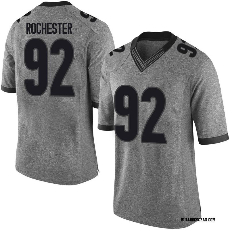 Limited Men's Julian Rochester Georgia Bulldogs Gray Football College Jersey
