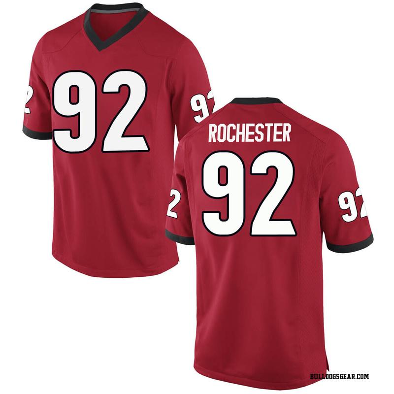 Replica Men's Julian Rochester Georgia Bulldogs Red Football College Jersey